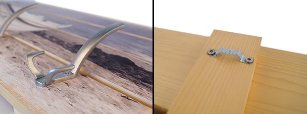 Detailansicht Vorder- und Rückseite der Holzgarderobe