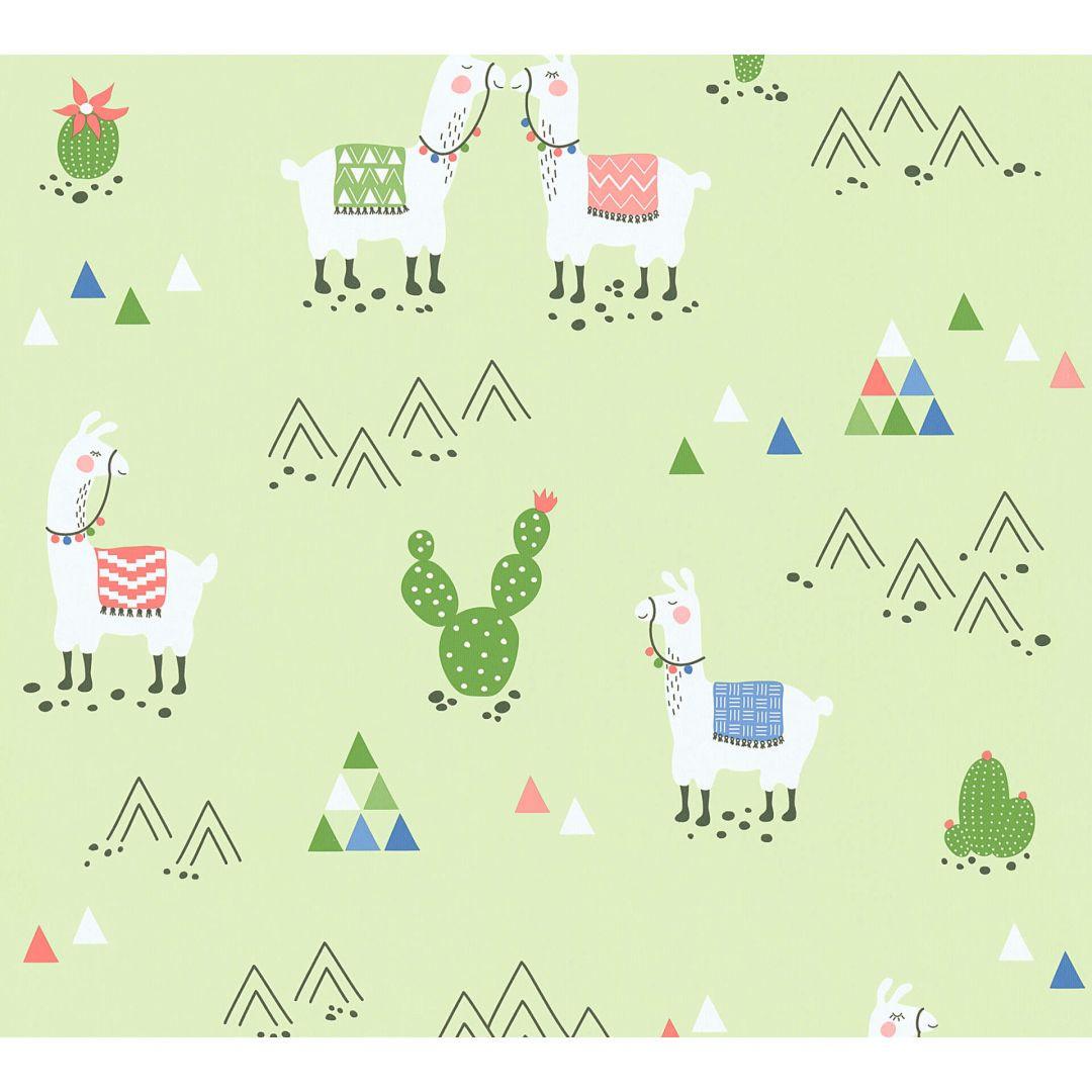 A.S. Création PVC-freie Vliestapete Boys & Girls 6 Tapete mit Lamas grün - WA267656