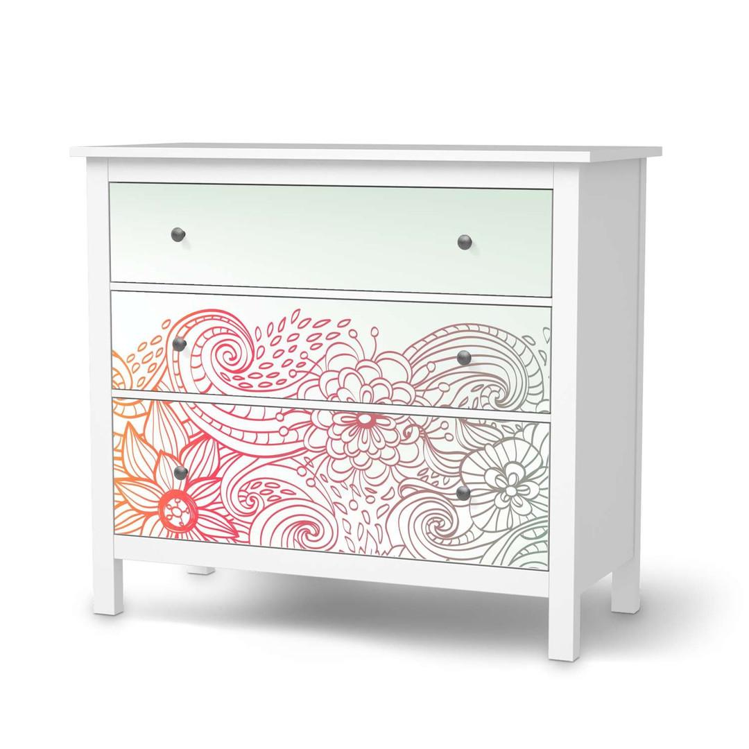 Möbelfolie IKEA Hemnes Kommode 3 Schubladen - Floral Doodle - CR114718