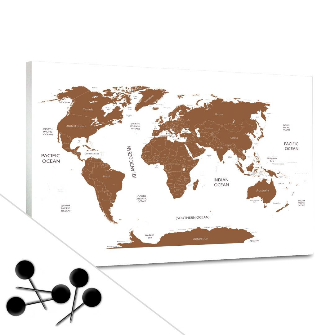 Pinnwand Weltkarte Braun Trenddeko Ch