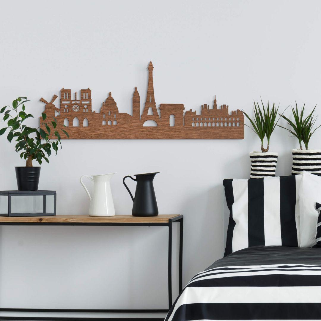 Holzkunst Mahagoni Furnier - Skyline Paris - WA253568