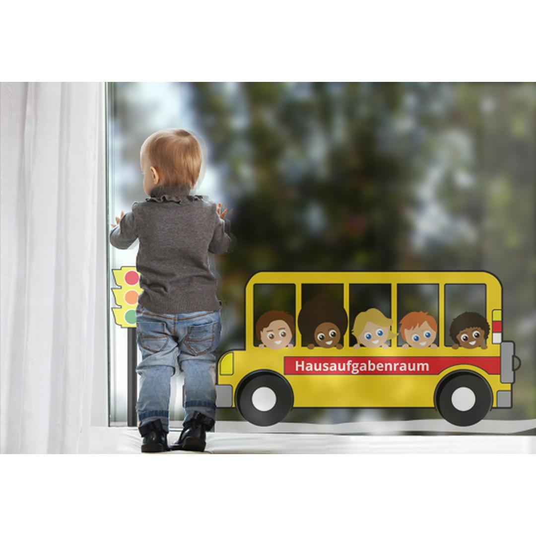 Fenstersticker Wunschtext Schulbus - CG10192