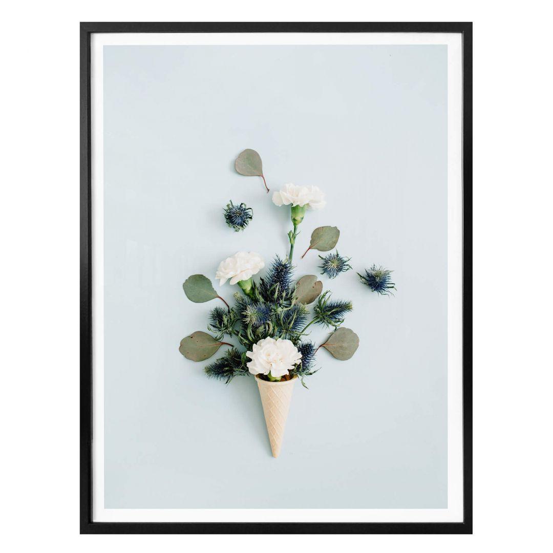 Poster Blüten in der Eistüte - blau - WA256927