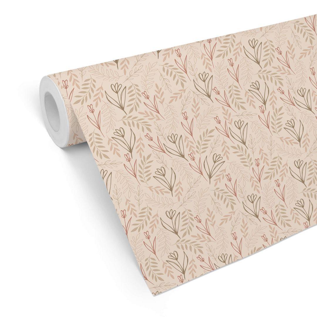 Mustertapete Graphic Flowers - Blumenfeld beige - WA255549