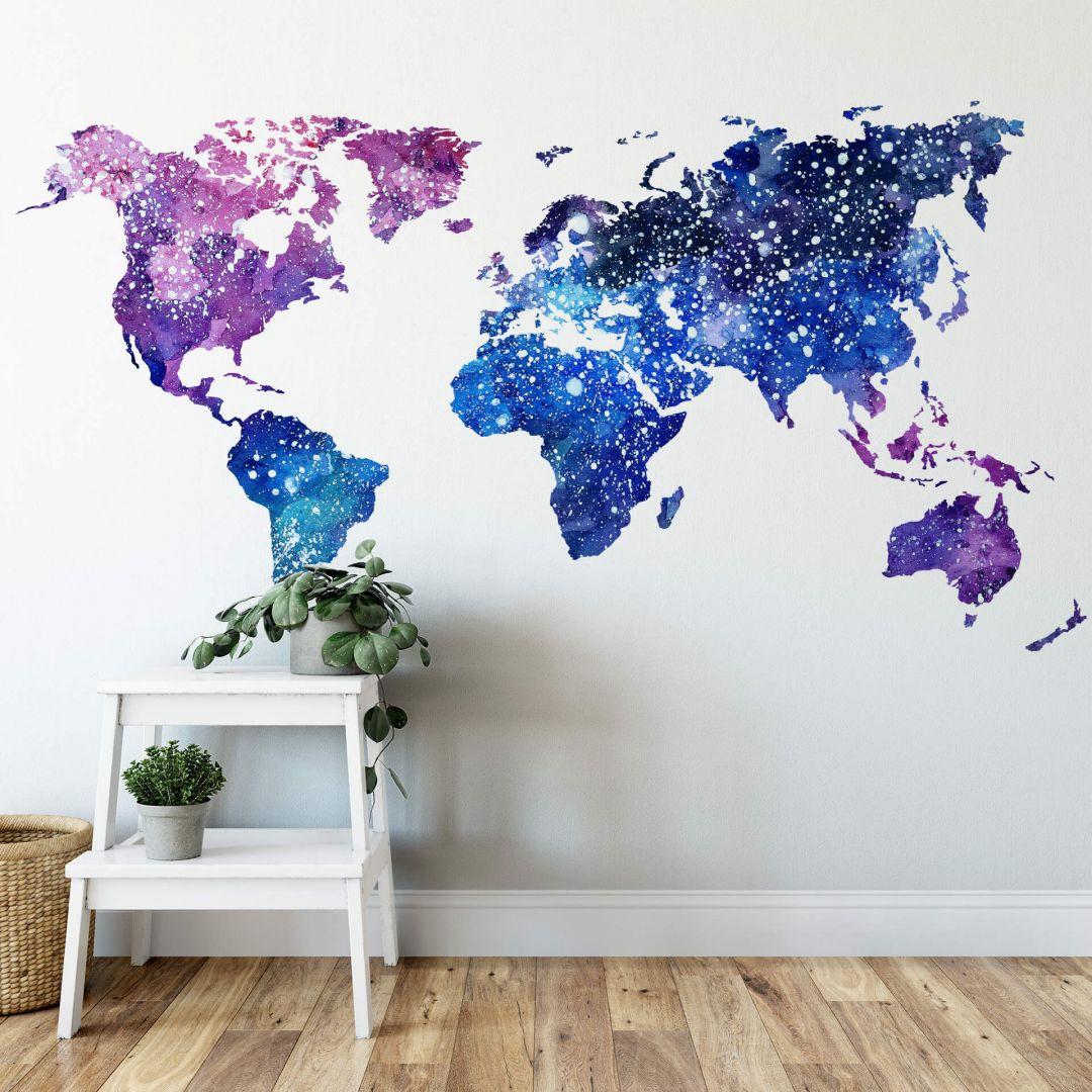 Wandtattoo Weltkarte Galaxie - WA284050
