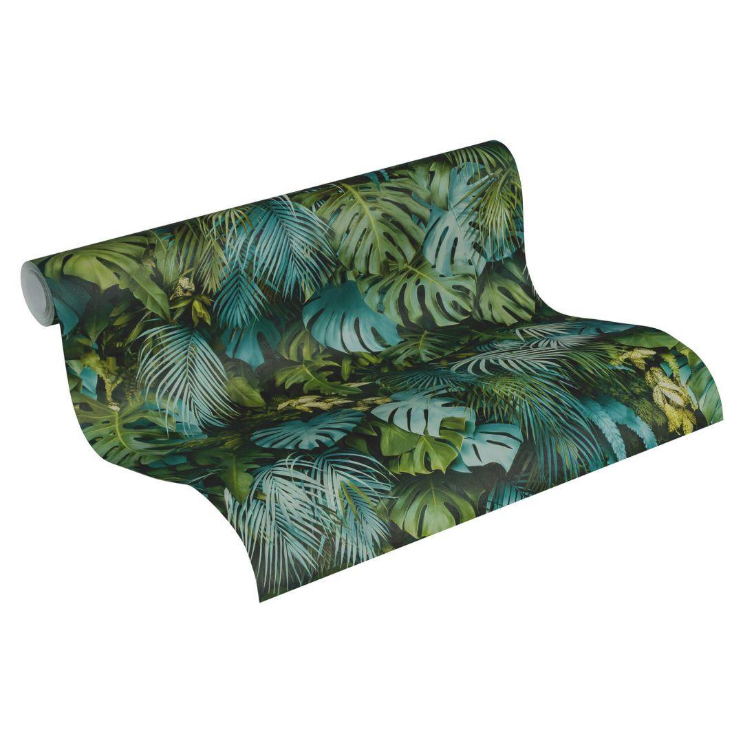 A.S. Création Vliestapete Greenery Tapete mit Palmenprint in Dschungel Optik grün, blau - WA268101