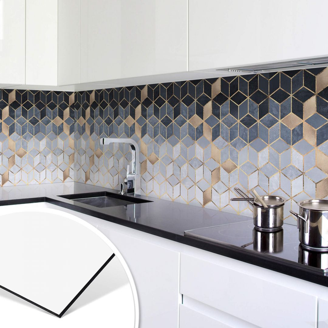 Küchenrückwand Fredriksson - Blaue Geometrie - WA253710