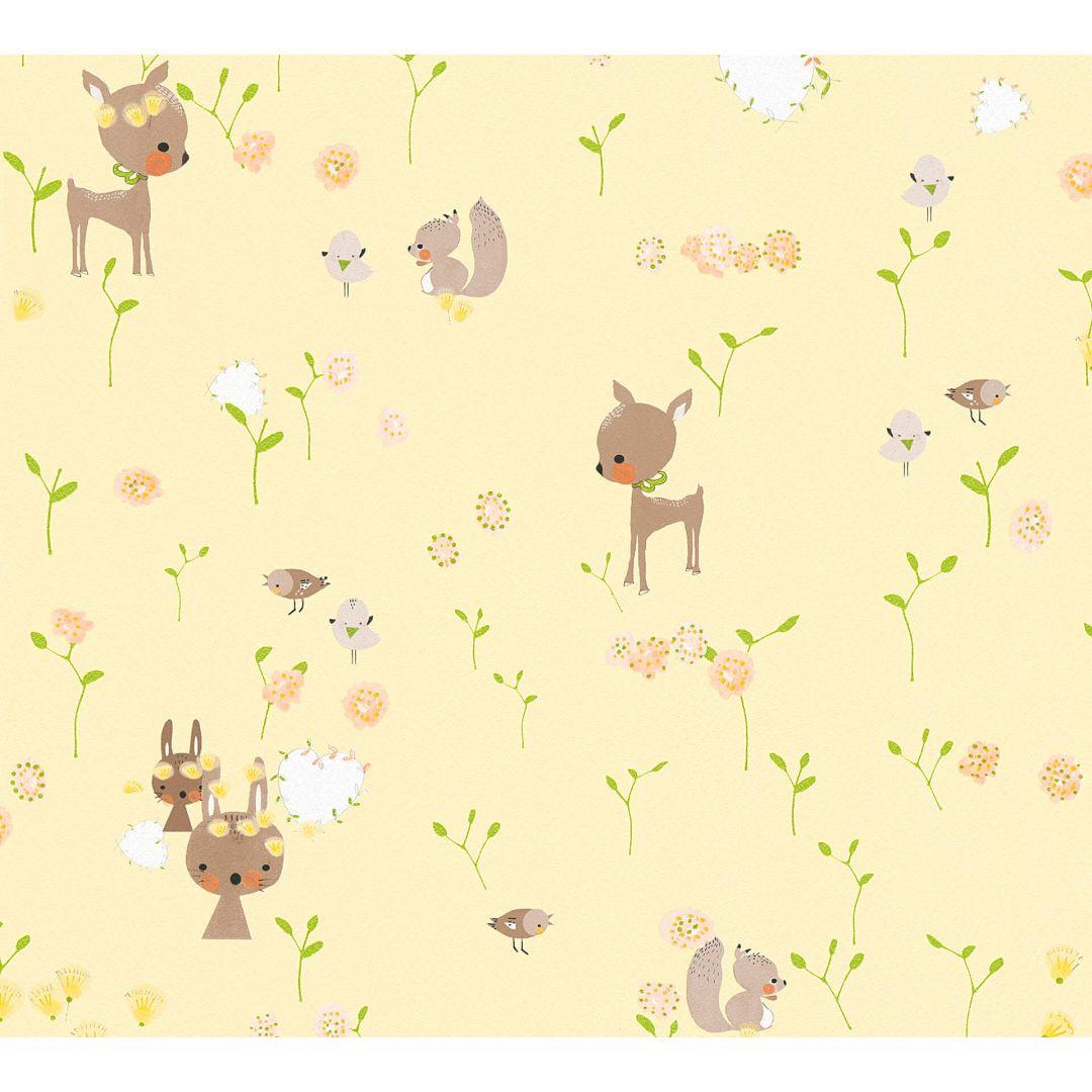 A.S. Création Papiertapete Boys & Girls 6 Tapete mit niedlichen Wald Tieren braun, gelb, grün - WA267731