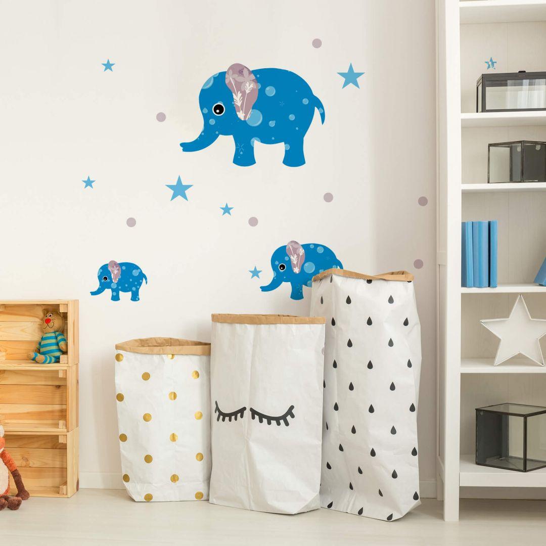 Wandtattoo Muster-Elefanten-Set blau - WA283901