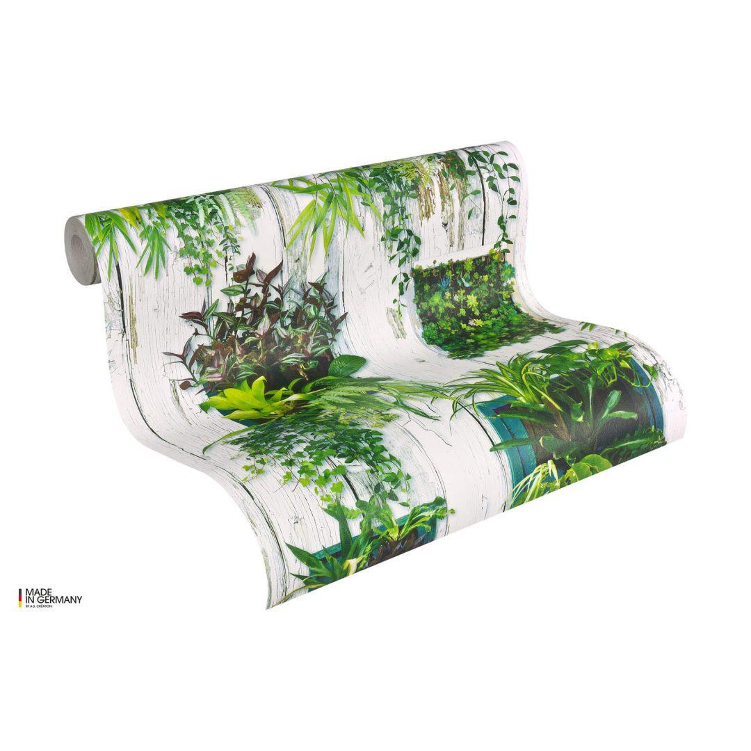 A.S. Création Holzoptik Papiertapete Authentic Walls weiss, grün - WA100795