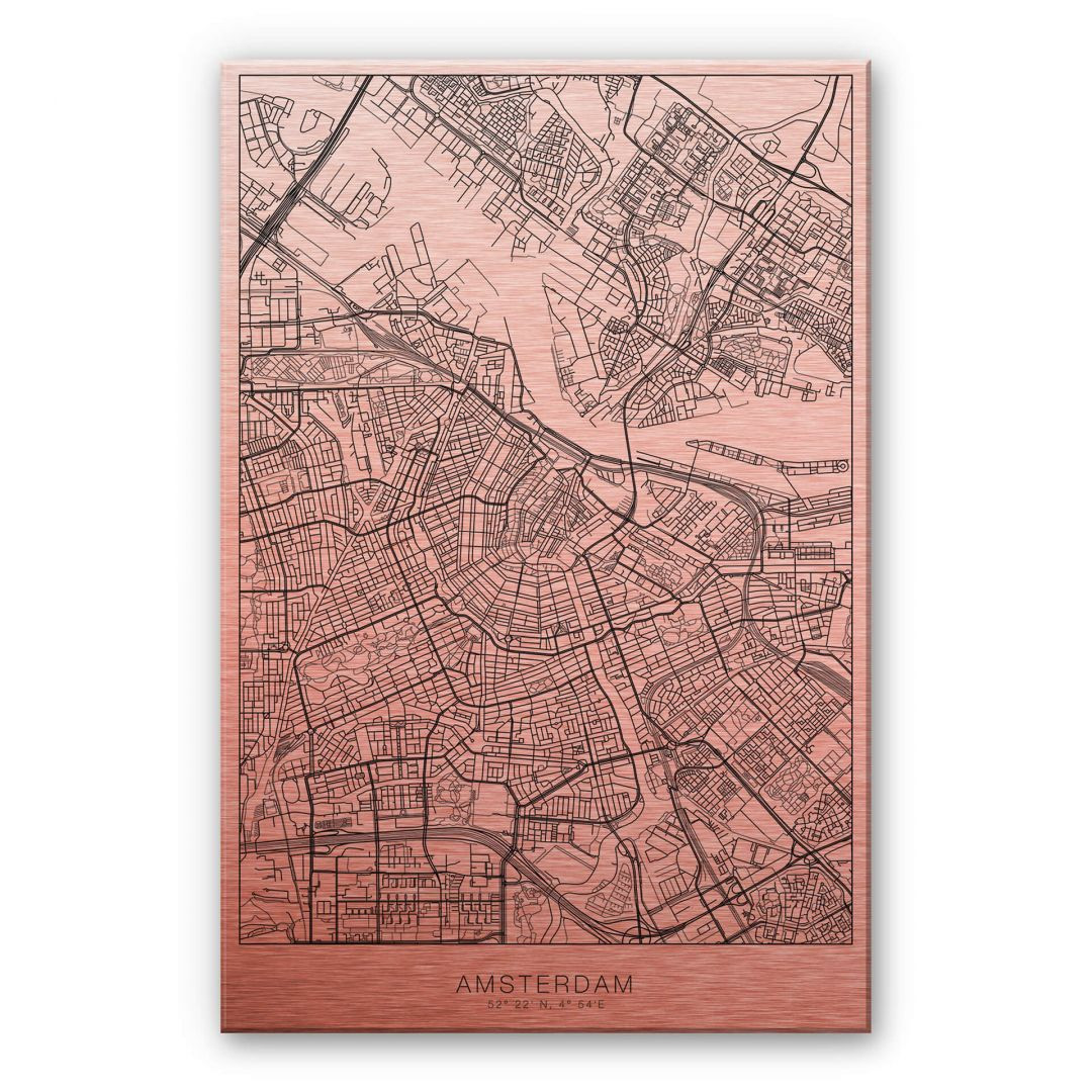 Alu-Dibond-Kupfereffekt Stadtplan Amsterdam - WA252137