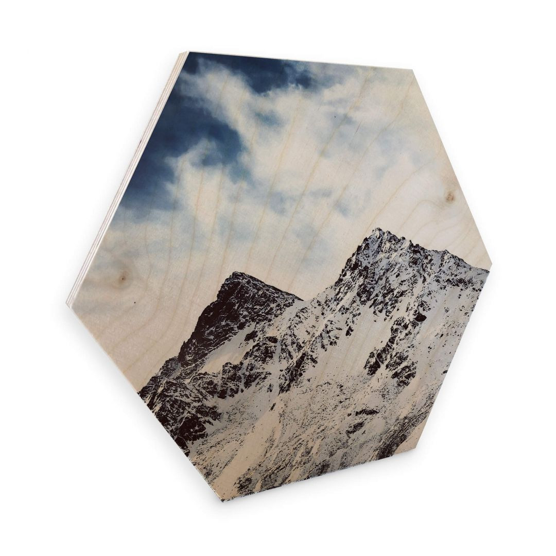 Hexagon - Holz Birke-Furnier - Snow Mountain - WA253385
