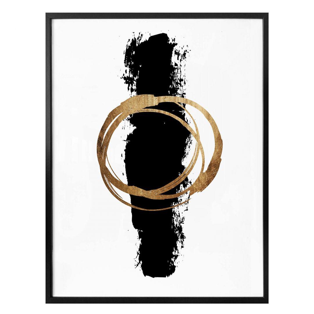 Poster Kubistika - Schwarz und Gold - WA258346