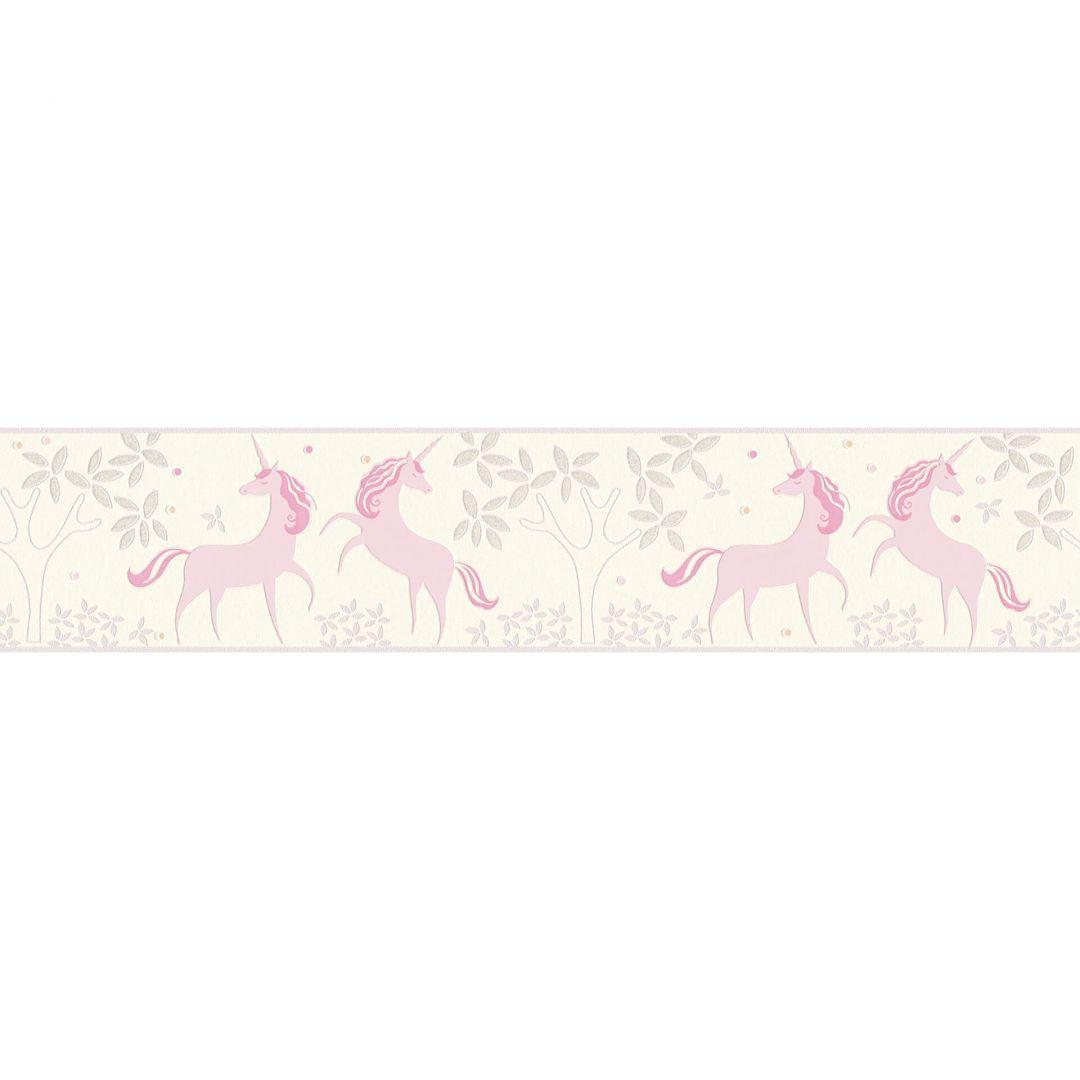 A.S. Création Bordüre Boys & Girls 6 Borte mit Einhörnern Unicorn grau, rosa, weiss - WA267607