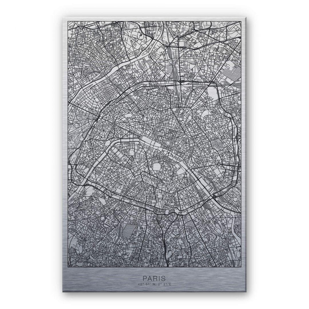 Alu-Dibond-Silbereffekt Stadtplan Paris - WA252231