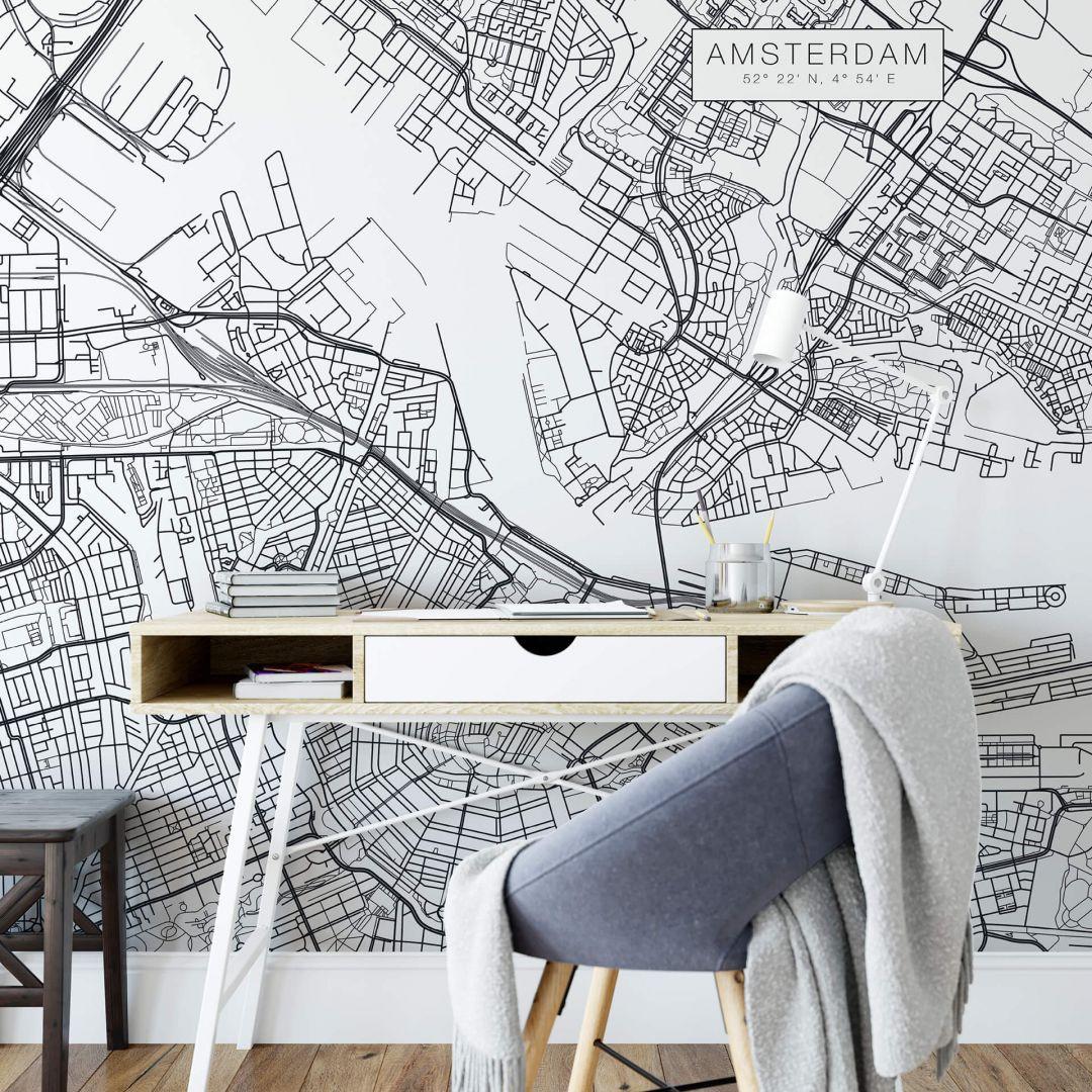 Fototapete Stadtplan Amsterdam - WA252609