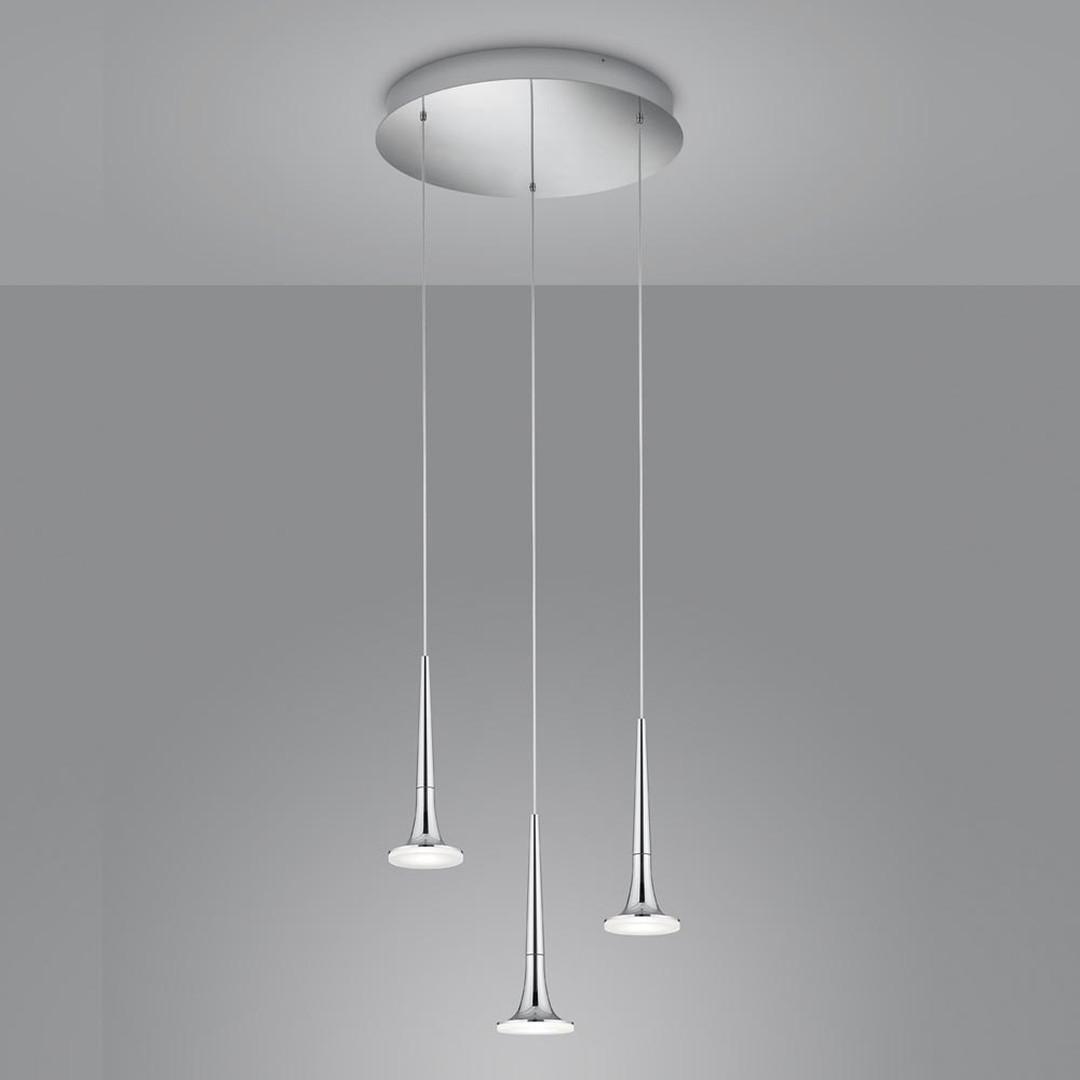 LED Pendelleuchte Flute Rondell in Chrom und Transparent-satiniert 18W 1320lm - CL119989