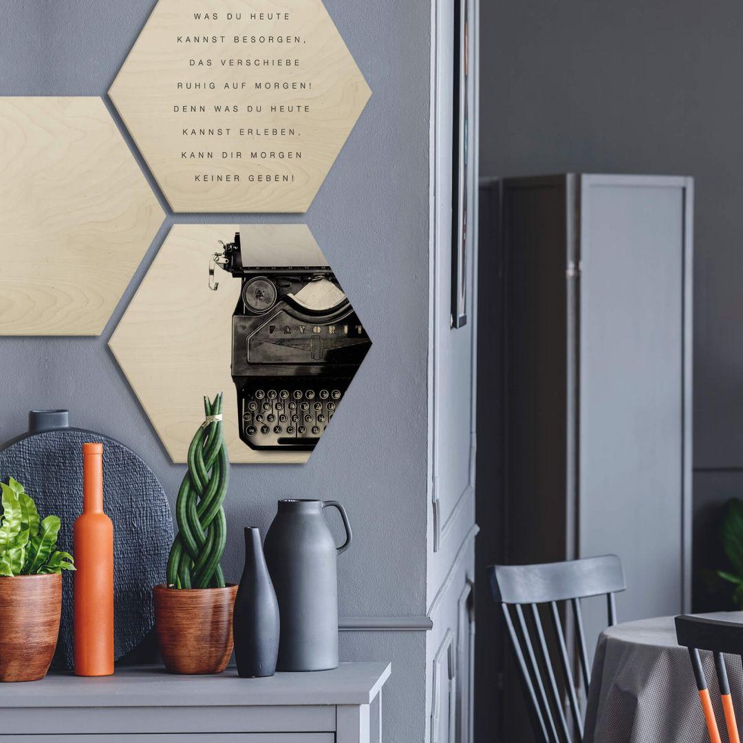 Hexagon - Holz Birke-Furnier - Was du heute kannst besorgen... (2er Set) - WA253430
