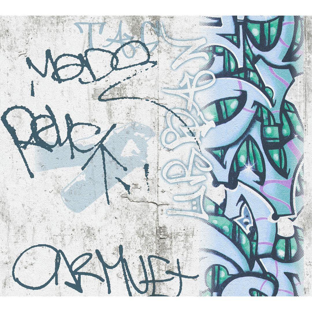 A.S. Création Papiertapete Boys & Girls 6 Tapete mit Graffiti grau, grün, schwarz - WA267704