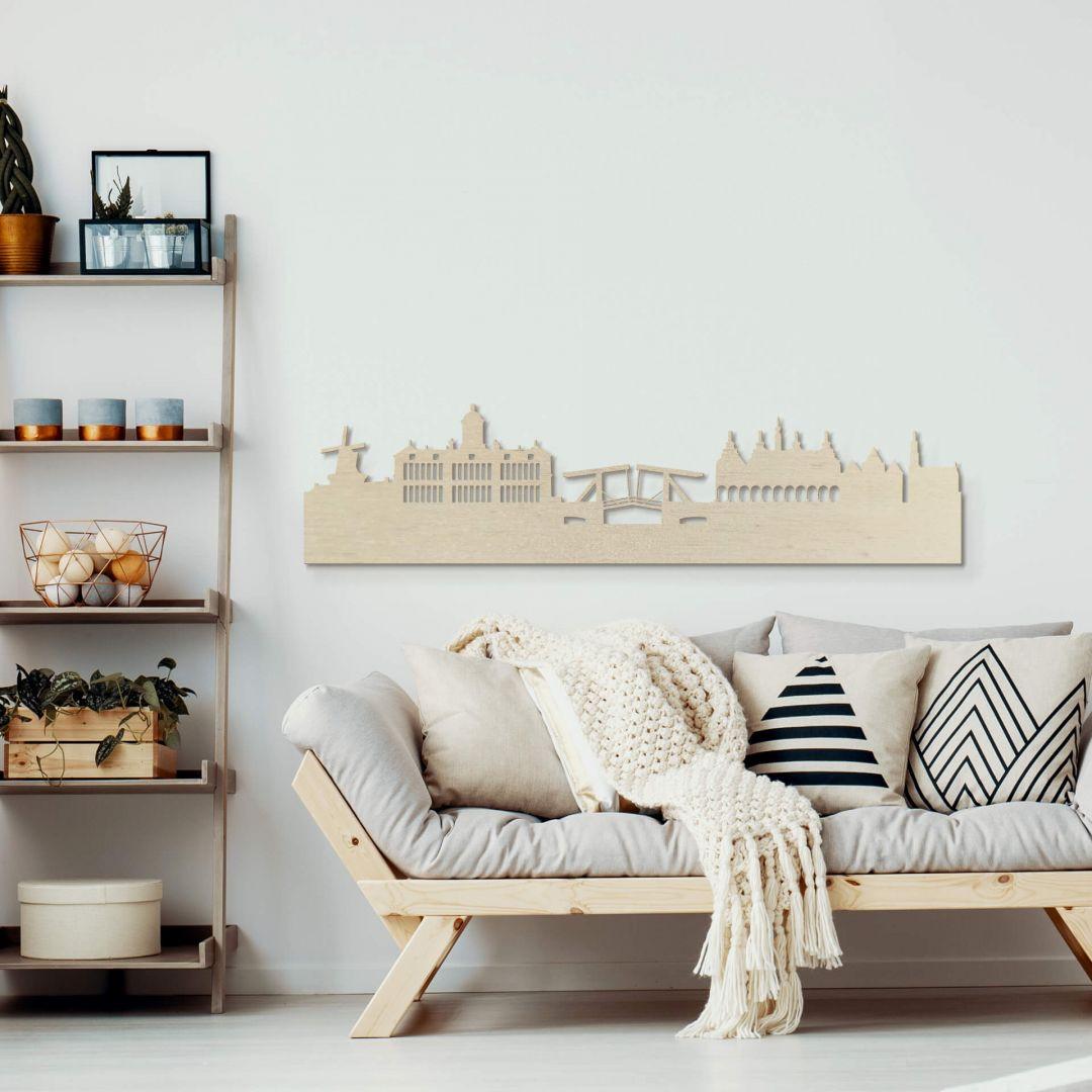 Holzkunst Pappel Furnier - Skyline Amsterdam - WA253630