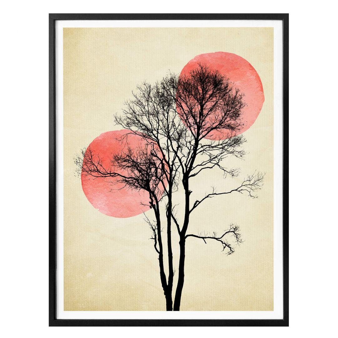 Poster Kubistika - Sonne und Mond hinter dem Baum - WA258351