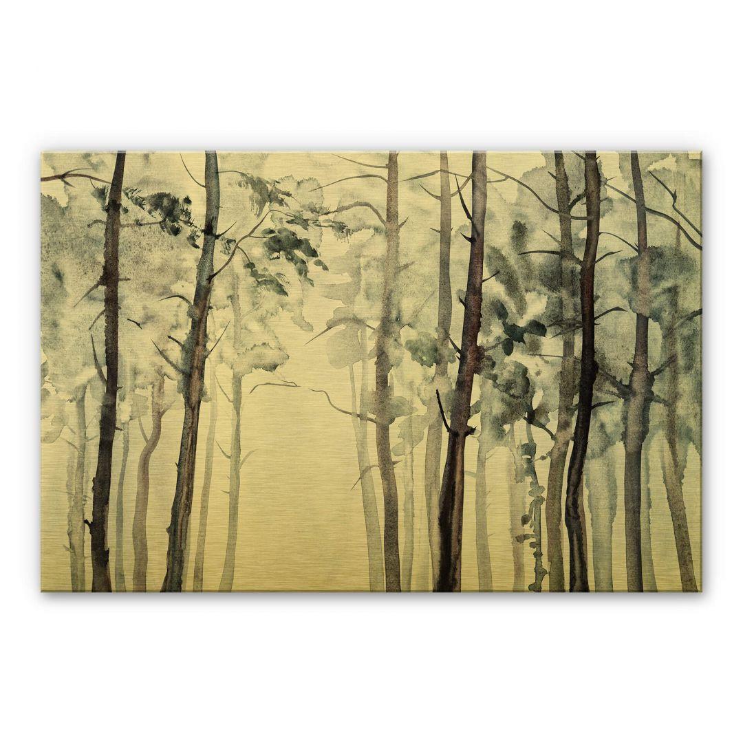 Alu-Dibond-Goldeffekt Aquarell Wald - WA252038