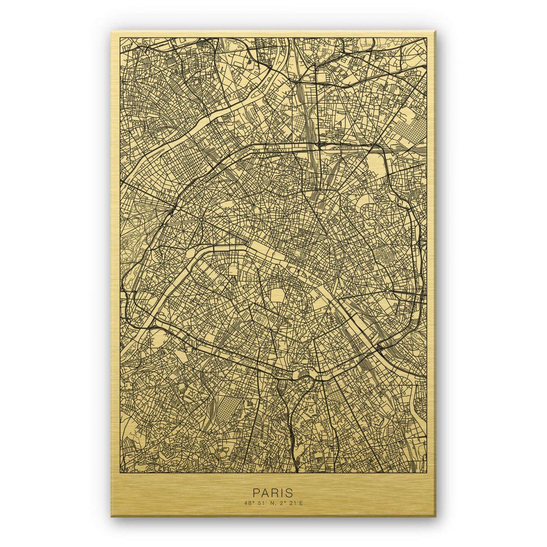 Alu-Dibond-Goldeffekt Stadtplan Paris - WA252100