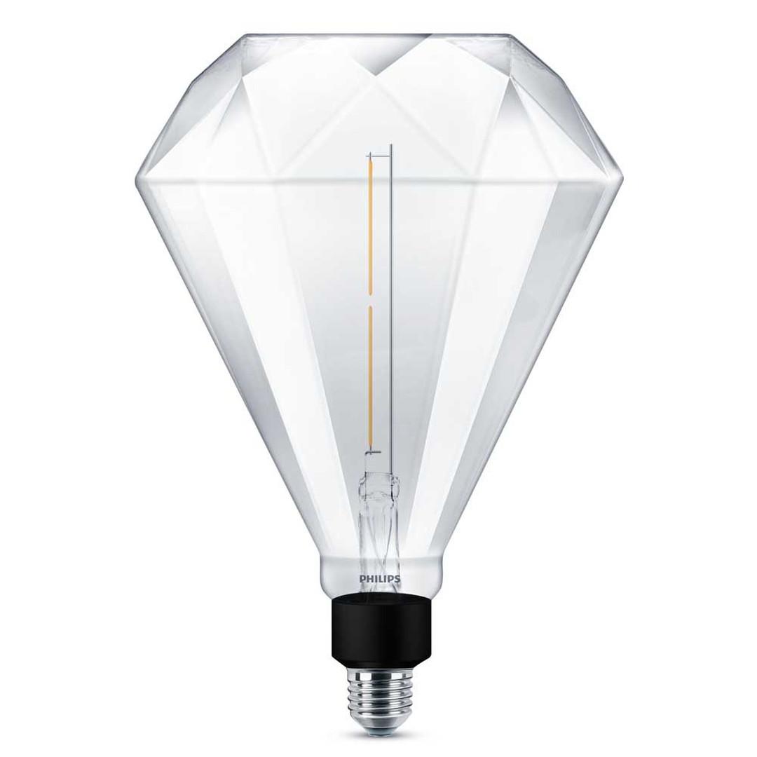 Philips LED diamond giant ersetzt 35W, E27. warmweiss, 2000 Kelvin, 400 Lumen, Dekolampe, dimmbar, Energieklasse A&&