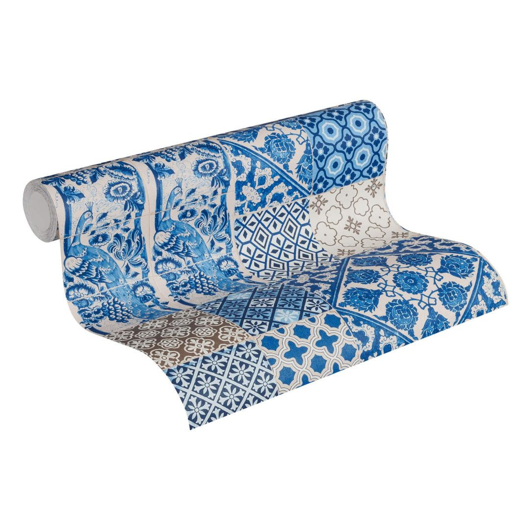 Livingwalls Vliestapete Metropolitan Stories Anke & Daan Amsterdam blau, creme, lila - WA255132