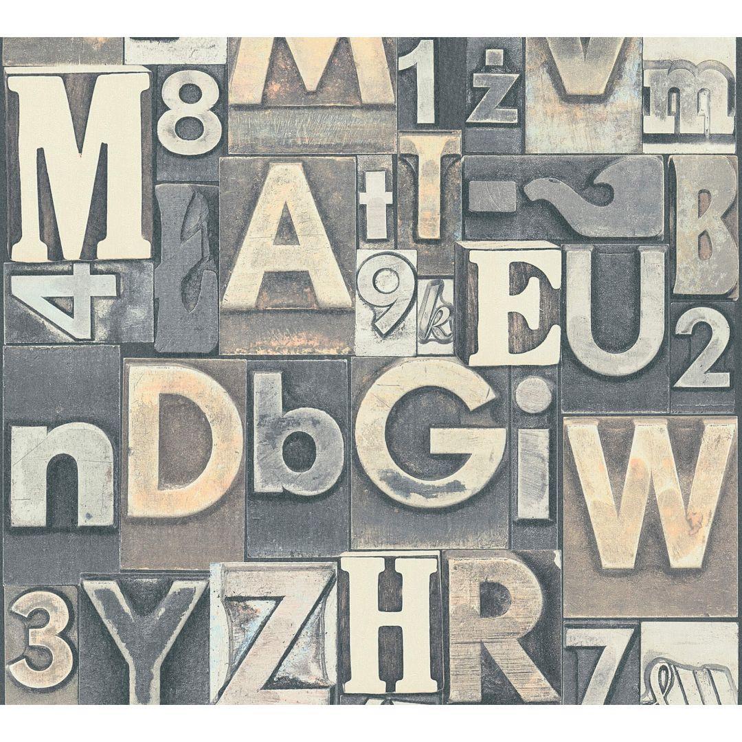 A.S. Création Vliestapete il Decoro Tapete Buchstaben Puzzle braun, creme, grau - WA268278