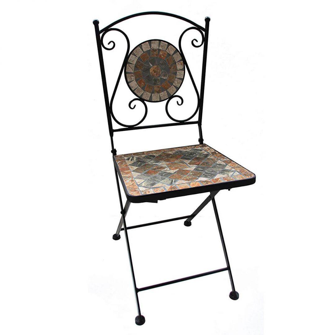 Gartenstuhl mit schönem Stein-Mosaik Muster, 36x36x89cm, robust, Innen- und Aussen, Winterfest - WA271390