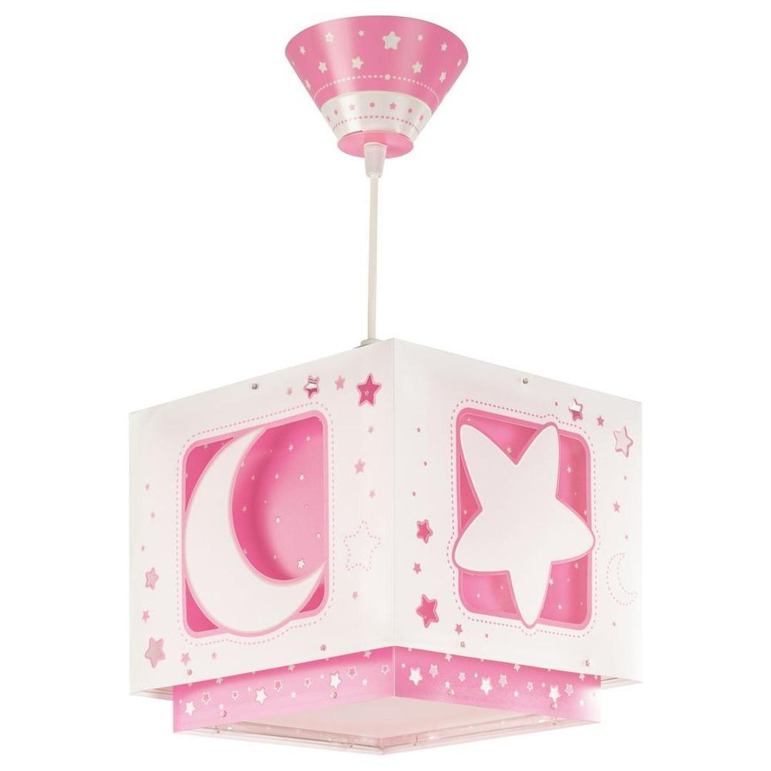 Kinderzimmer Pendelleuchte Moonlight in Rosa fluoreszierend E27 - CL119703