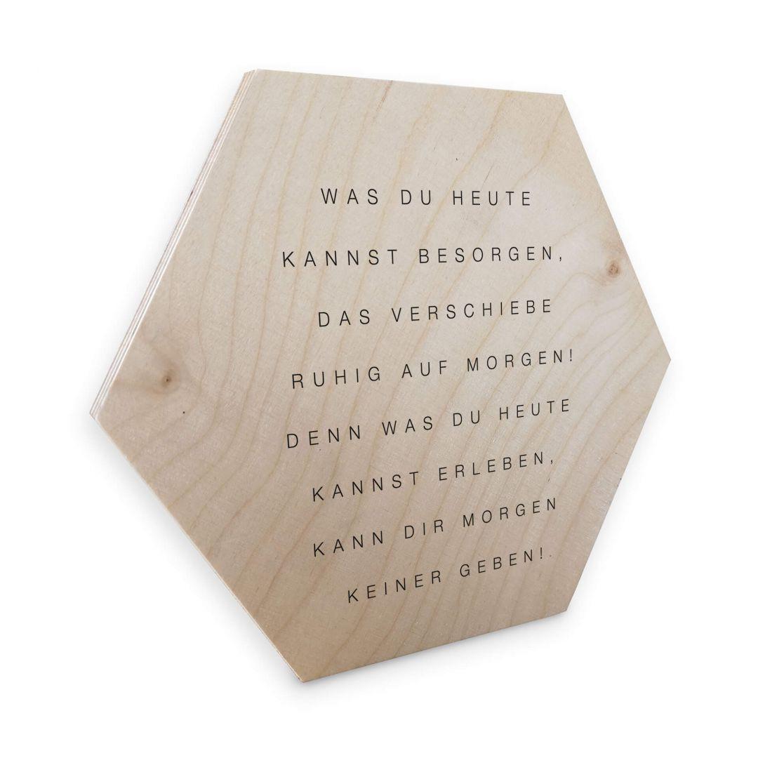 Hexagon - Holz Birke-Furnier - Was du heute kannst besorgen... - WA253429