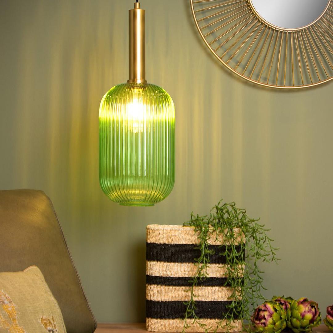 Pendelleuchte Maloto aus Glas in Grün und mit Textilkabel in Schwarz E27 - CL120571