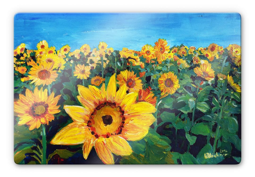 Glasbild Bleichner - Sunflower Fields - WA252669