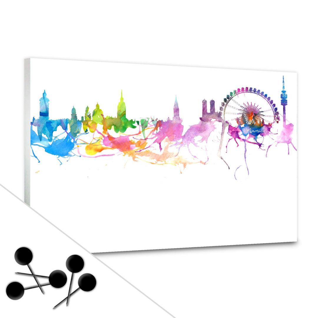 Pinnwand Bleichner - München Aquarell Skyline inkl. 5 Pinnnadeln - WA256614