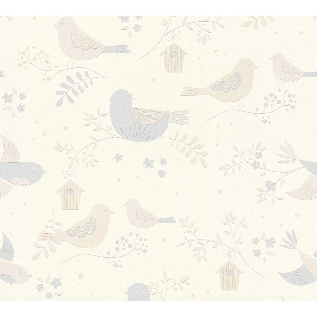 A.S. Création Tapete Boys & Girls 6 mit niedlichen Vögelchen beige, grau, weiss - WA267769