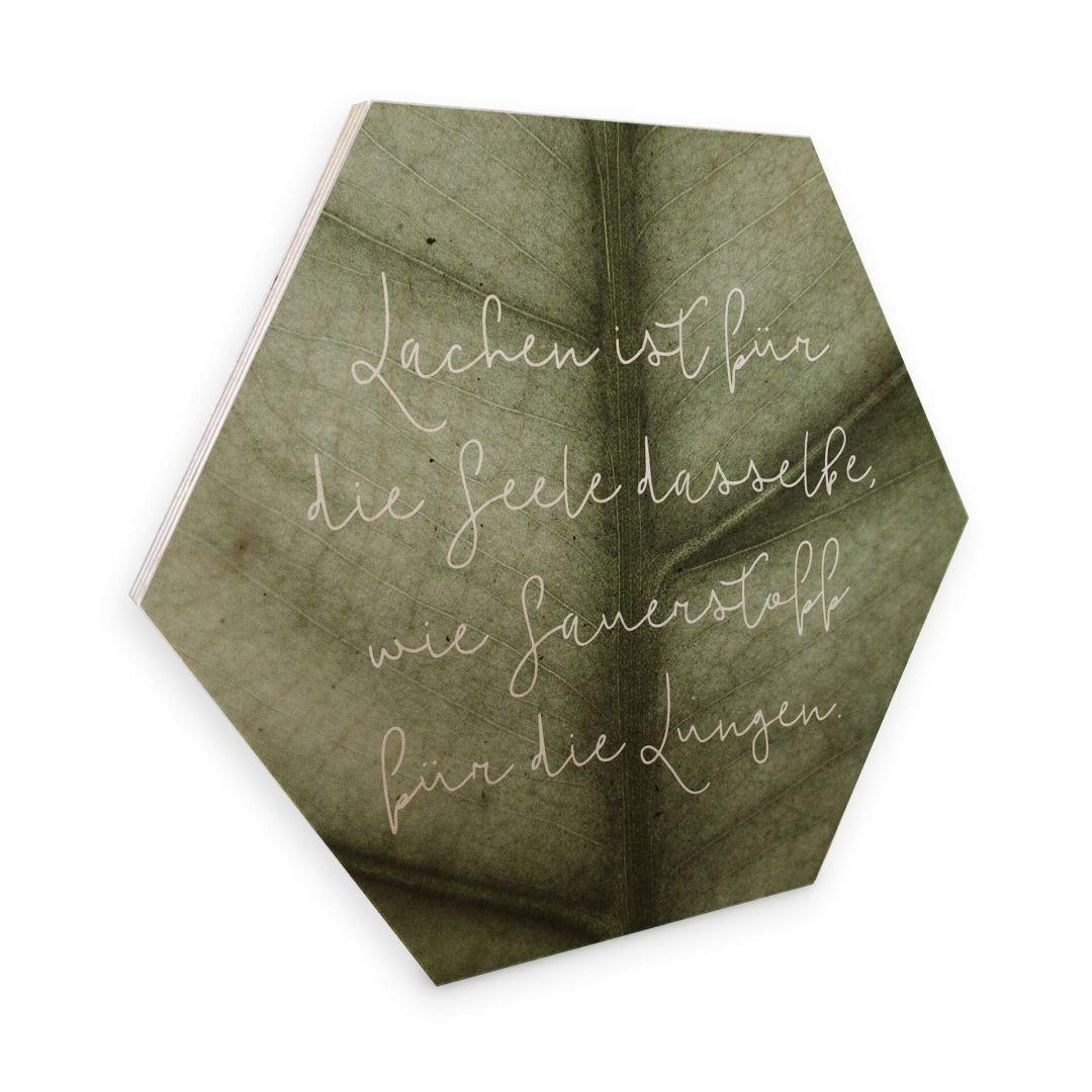 Hexagon - Holz Birke-Furnier - Lachen ist für die Seele - WA253315