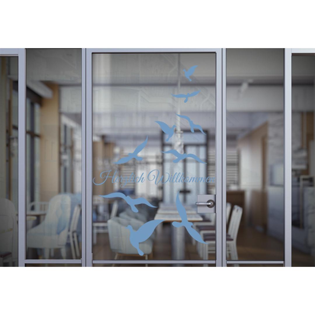 Glasdekor Wunschtext Vogelschwarm - CG10512