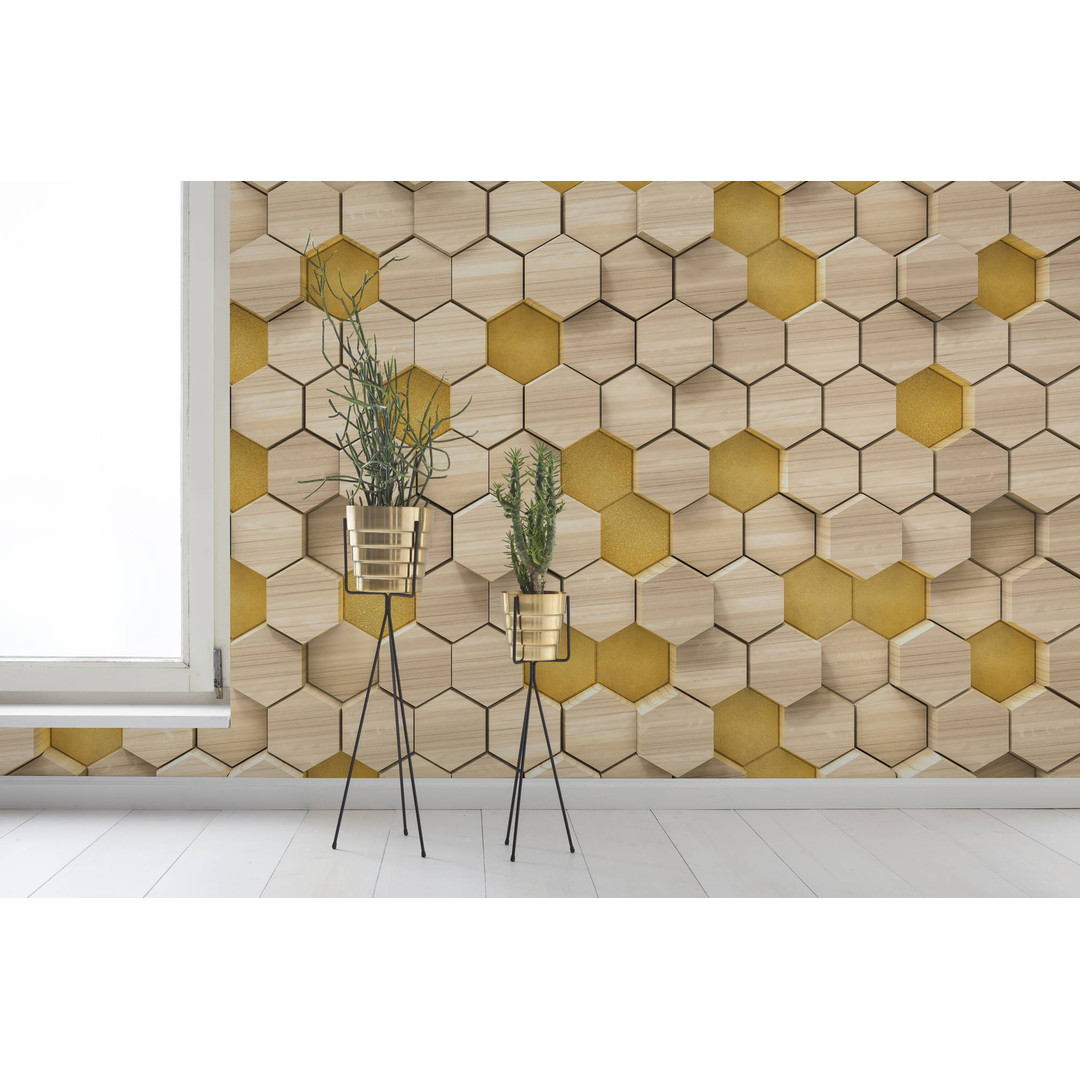 Sonderanfertigung Exklusive Vliestapete Woodcomb Birch - KO6005A-VD4-ONE