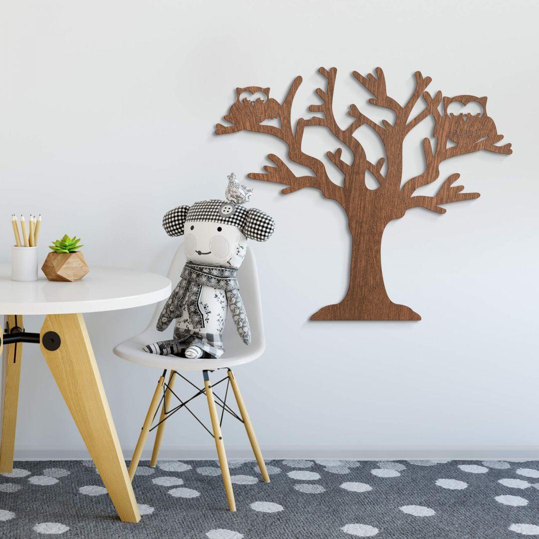 Holzkunst Mahagoni - Baum mit Eulen - WA253505