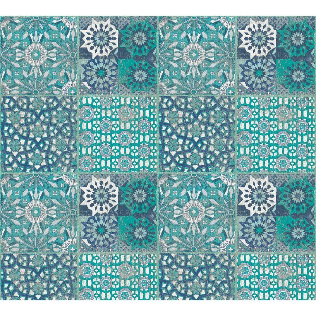 A.S. Création Vliestapete il Decoro Tapete in mediterraner Fliesen Optik blau, grau, grün - WA268423