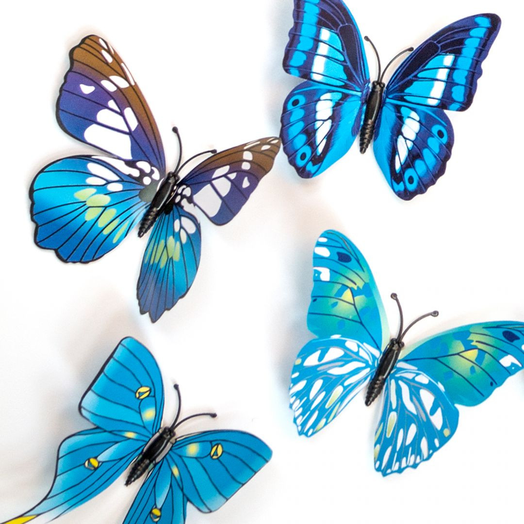 3D Wandtattoo Schmetterling Set 12 tlg Blau