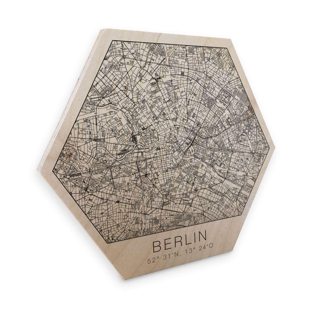Hexagon - Holz Birke-Furnier - Stadtplan Berlin - WA253391