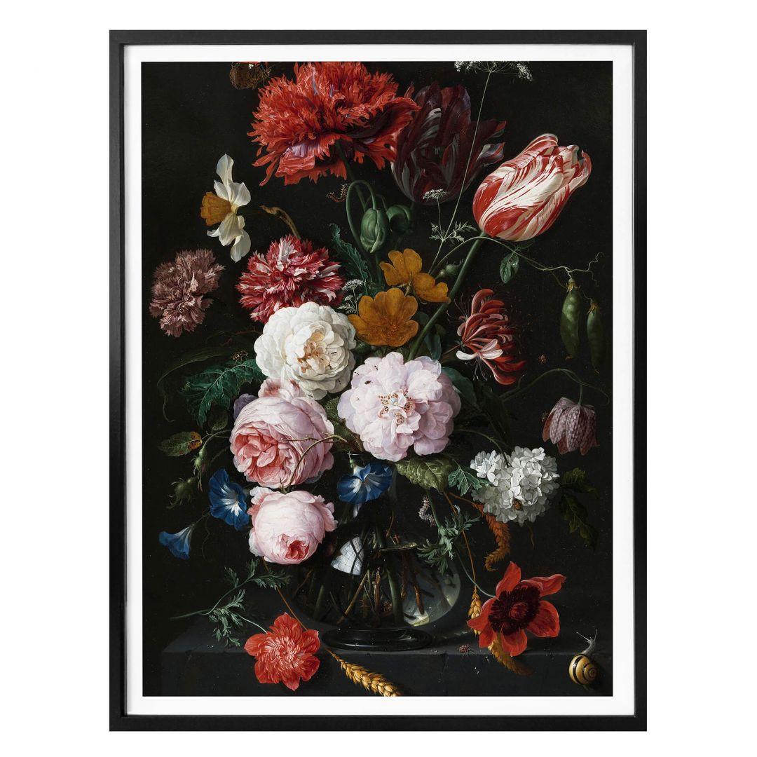 Poster Heem - Stillleben mit Blumen in einer Glasvase - WA257939