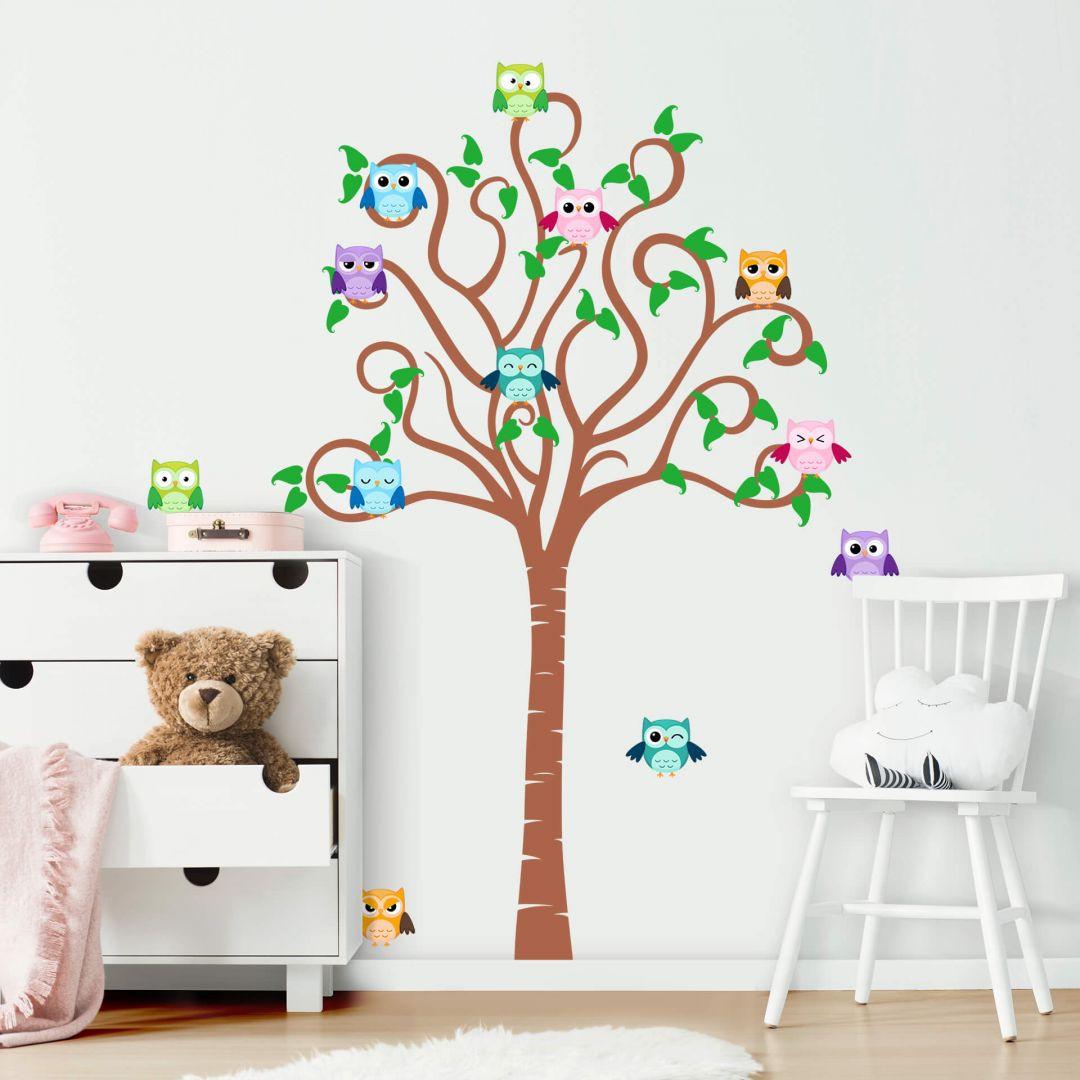 Wandtattoo Kinder-Baum mit Tieren (2-farbig) - WA213268
