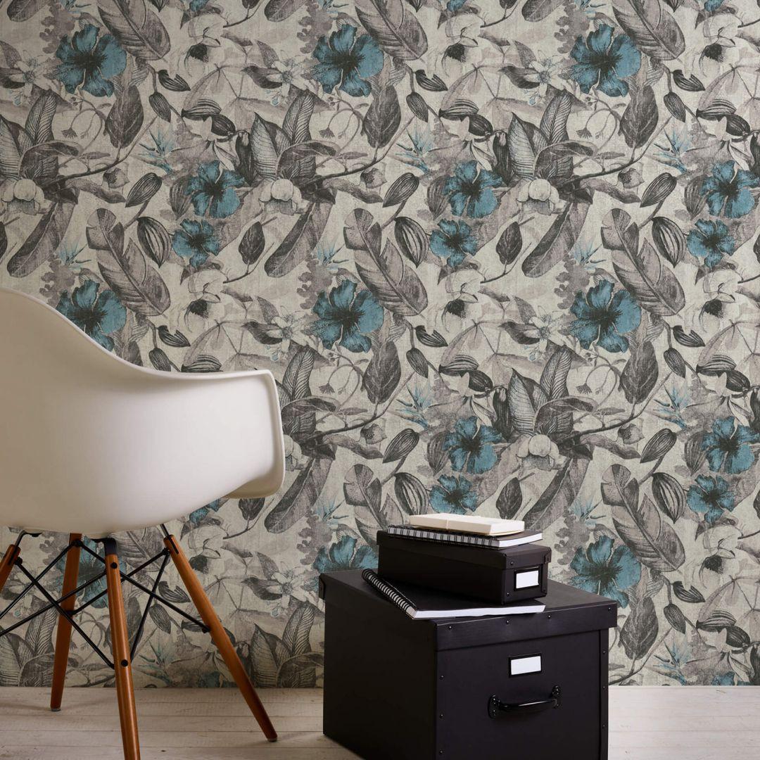 A.S. Création Vliestapete Greenery Tapete mit Blätter Motiv grau, weiss, blau - WA268038