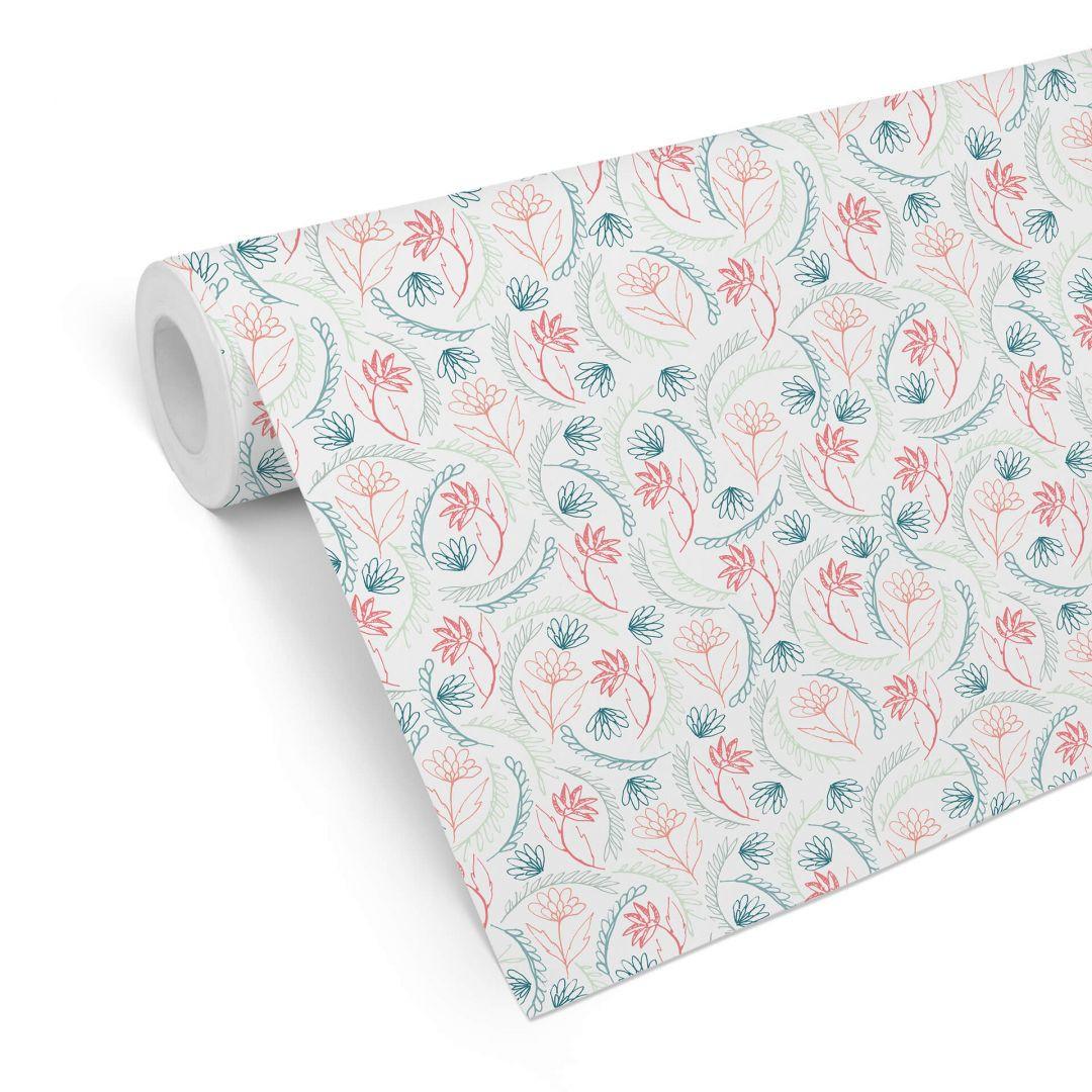 Mustertapete Graphic Flowers - Blumen rosa - WA255546