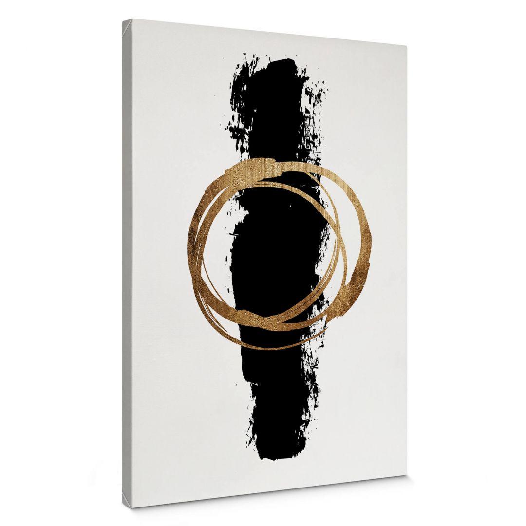 Leinwandbild Kubistika - Schwarz und Gold - WA254457