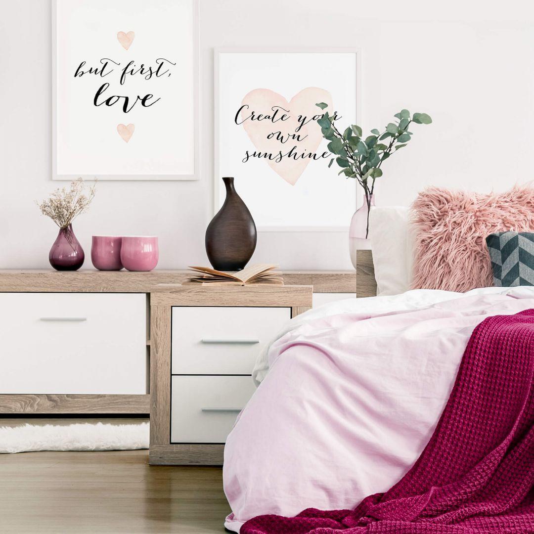 Poster-Set mit Bilderrahmen Confetti and Cream - Love is everything (2er Set) - WA259271